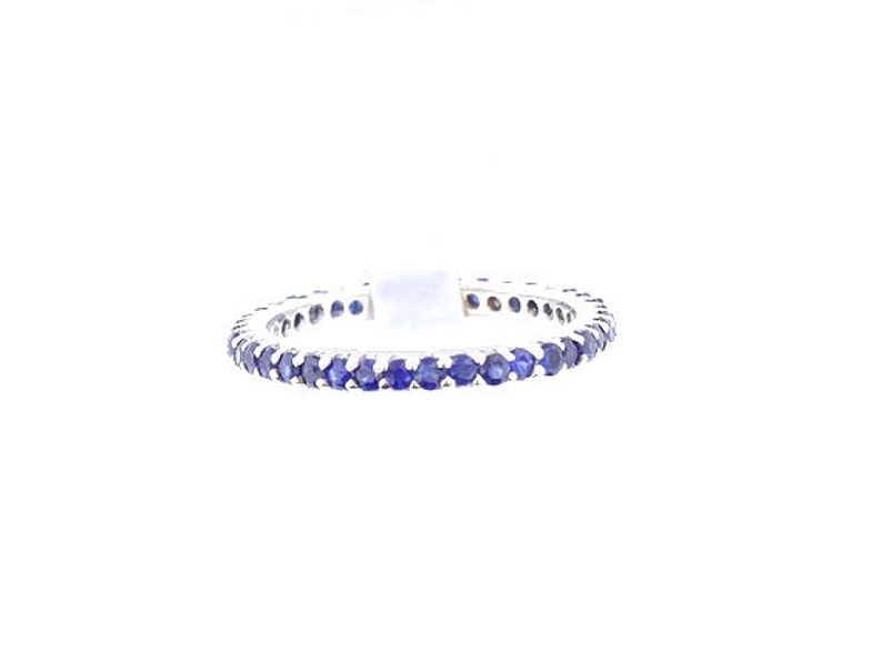 14K Full Eternity Natural Blue Sapphire 1.07 Carats Band  image 0