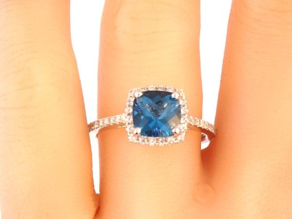 14K White Gold Cushion Cut London Blue Topaz Diamond Engagement Ring Wedding Ring Anniversary Ring Promise Ring Art Deco Yellow Rose Gold