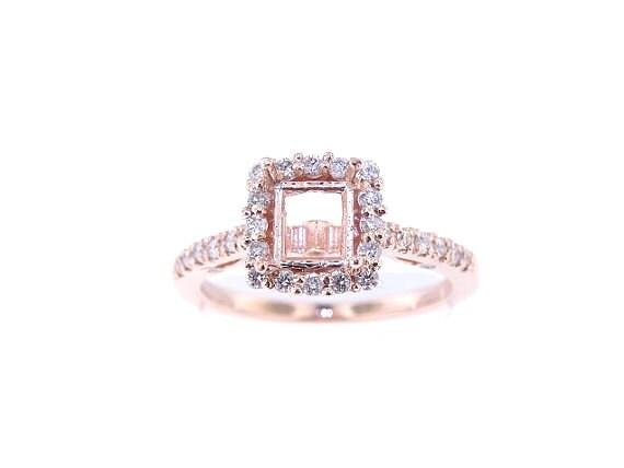 14K Rose Gold Diamond Halo Engagement Ring Wedding Ring Antique Ring Art Deco Ring Yellow Gold White Gold Platinum 18K