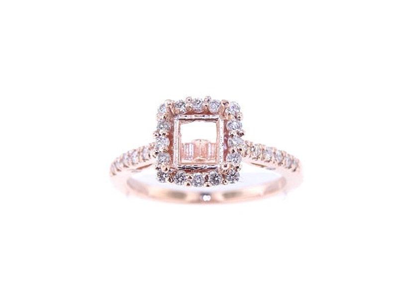14K Rose Gold Diamond Halo Engagement Ring Wedding Ring image 0