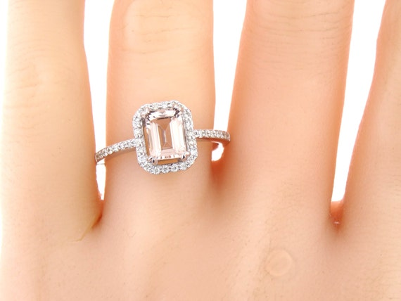 14K White Gold Emerald Cut Morganite and Diamond Engagement Ring Wedding Ring Anniversary Ring Promise Ring Solitaire Ring Rose Gold Yellow