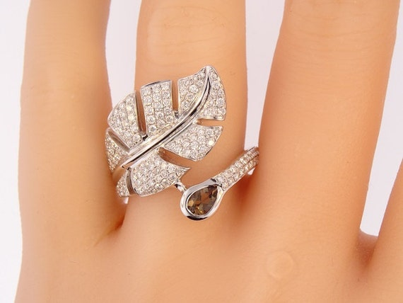 14 Karat White Gold Diamond and Smokey Topaz Leaf Ring Fashion Ring Right Hand Ring Antique Design Band