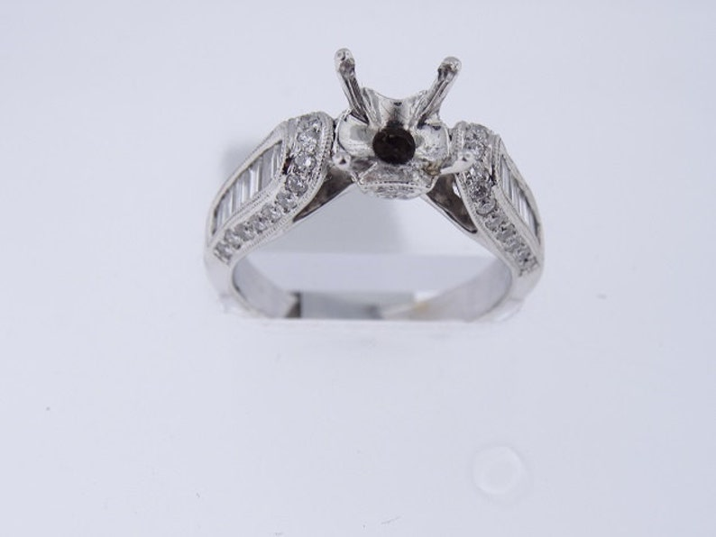 18K White Gold Antique Design Engagement Ring Baguette Art image 0
