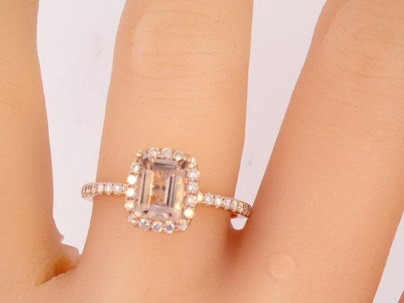 14K Rose Gold Emerald Cut Morganite Diamond Halo Engagement Ring Wedding Ring Promise Ring Antique Ring Simple Halo Ring White Gold Yellow