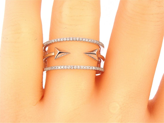 14K White Gold Diamond Arrow Ring Anniversary Band Wedding Band Stackable Band Fashion Band Right Hand Ring Promise Yellow Gold Rose Gold
