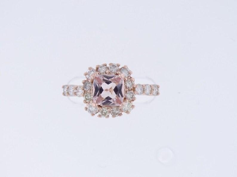 14K Rose Gold Natural Cushion Cut Morganite Diamond Halo image 0