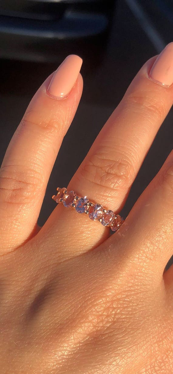 14K Rose Gold Oval Shape Morganite Band U Prong Wedding Band Engagement Ring Promise Ring Anniversary Ring White Gold Yellow Gold Art Deco