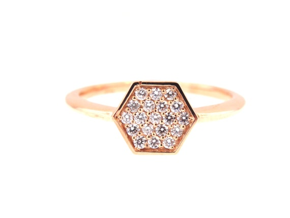 14K Rose Gold Diamond Antique Style Art Deco Hexagon Shape Band Wedding Band Anniversary Band Stackable Band Yellow White Gold 18K Fashion