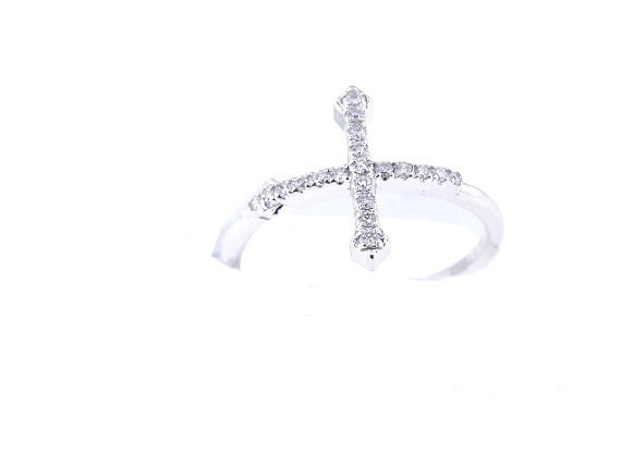 14K White Gold Diamond Sideway Cross Band Right Hand Ring Art Deco Antique Ring Anniversary Band Stackable Band Yellow Gold White Gold 18K