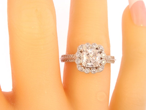 14K White Gold Diamond and Natural Cushion Cut Diamond Engagement Ring Wedding Ring Promise Ring Halo Ring Yellow Gold Rose Gold Antique 18K