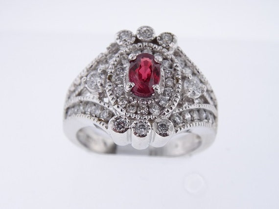 14K White Gold Diamond and Natural Ruby Antique Halo Design Ring 1.80 Carats - SJ2268R