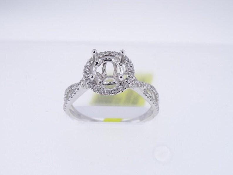 14K White Gold Halo Twist Diamond Engagement Ring Infinity image 0