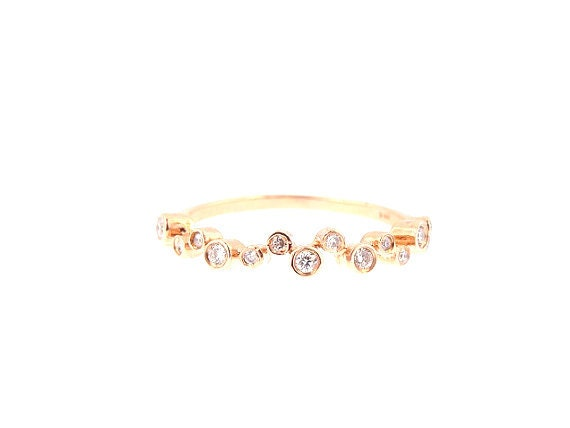 14K Rose Gold Diamond Bezel Half Eternity Band Anniversary Band Wedding Band Stackable Band Promise Ring Yellow Gold White Gold Fashion Band