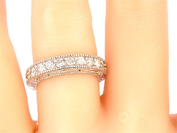 14K White Gold Art Deco 3/4 Eternity Anniversary Band Wedding Band Promise Ring Stackable Ring Yellow Gold White Gold Platinum 18K Art Deco