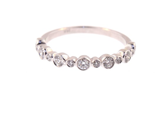 14K White Gold Bezel Set Half Eternity Band Stackable Band Wedding Band Anniversary Band Promise Ring Yellow Gold Rose Gold Art Deco 18K