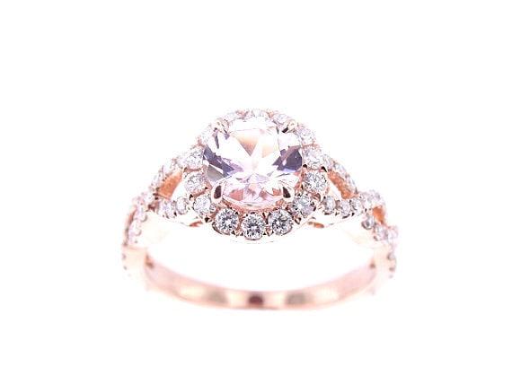 14K Rose Gold Diamond &Natural Morganite Halo Engagement Ring Wedding Ring Anniversary Ring Criss Cross Ring Infinity Ring Yellow White Gold