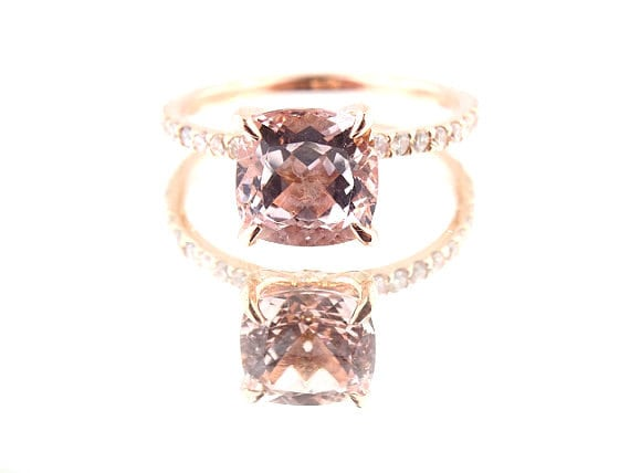 14K Rose Gold Diamond & Natural Cushion Cut Morganite Engagement Ring Wedding Ring Solitaire Ring Art Deco Ring Classic Design Yellow White