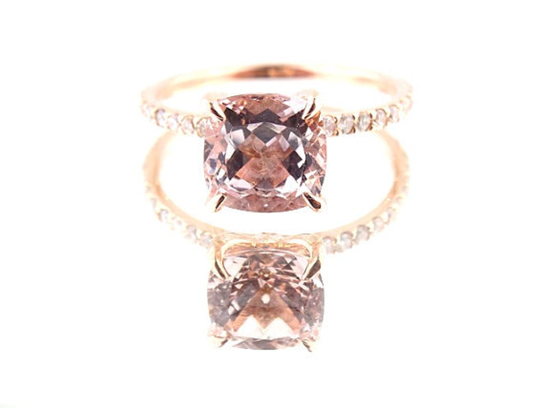 14K Rose Gold Diamond & Natural Cushion Cut Morganite image 0