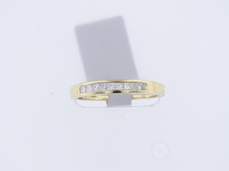14K Yellow Gold Half Eternity Diamond Princess Cut Channel Set image 0