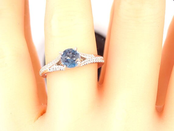 14K White Gold Diamond and Natural Blue Topaz Engagement Ring Wedding Ring Anniversary Ring Split Shack Art Deco Antique Ring Classic Halo
