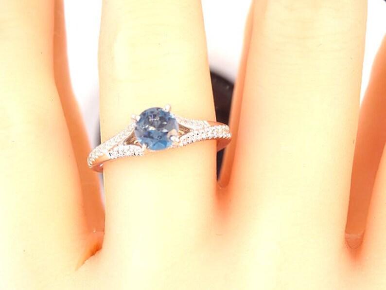 14K White Gold Diamond and Natural Blue Topaz Engagement Ring image 0
