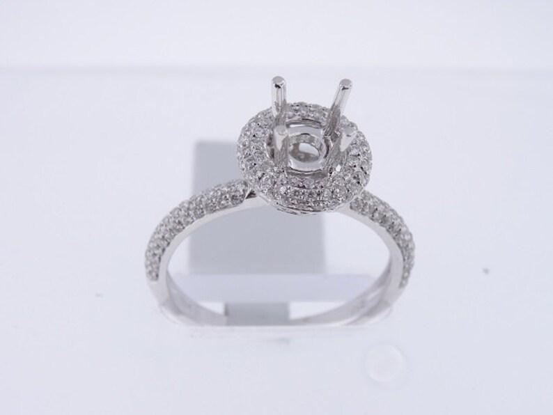 18K White Gold Diamond Halo Design Pave Set Engagement Ring image 0