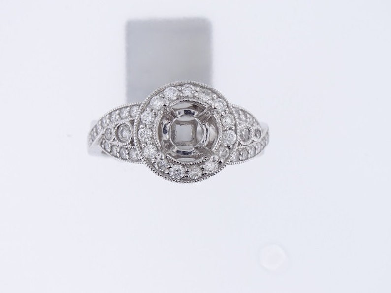 18K White Gold Diamond Halo Antique Engagement Ring  SJ300RH image 0