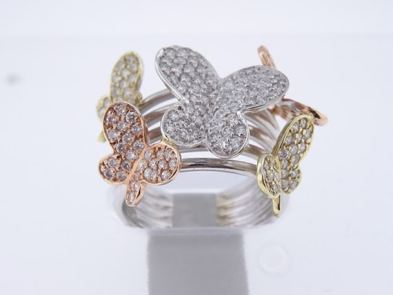 14K Tri-Color(Rose, White, and Yellow) Gold Diamond Butterfly Ring 1.60 Carats - SJ3600BUTR