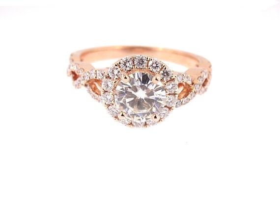14K Rose Gold Diamond Halo 6.5MM Round Forever Brilliant Moissanite Engagement Ring Wedding Ring Infinity Ring Criss Cross Ring Antique 18K