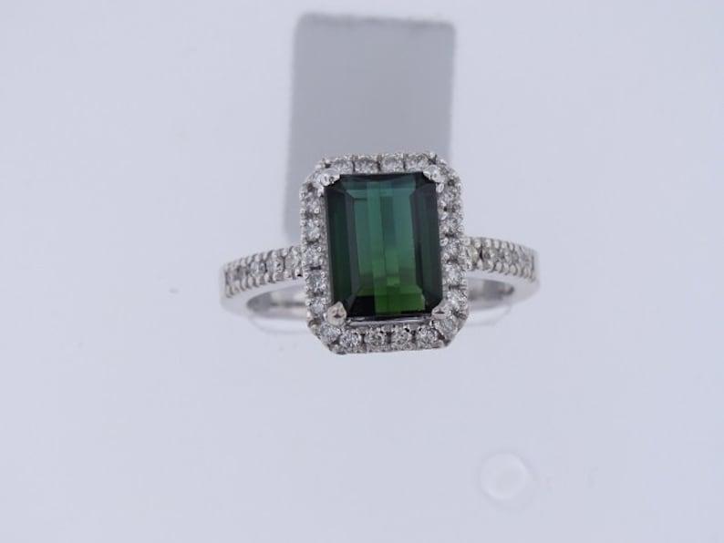 14K White Gold Green Thermal Diamond Halo Design Ring Art Deco image 0