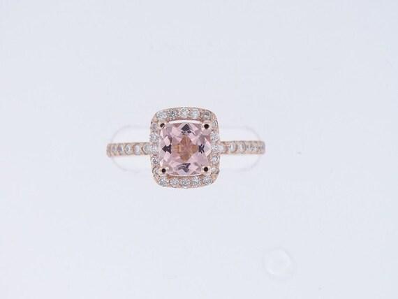 14K Rose Gold Cushion Cut Morganite Diamond Halo Ring Classic Wedding Ring Anniversary Ring Bridal Wedding Engagement Ring White Gold Yellow
