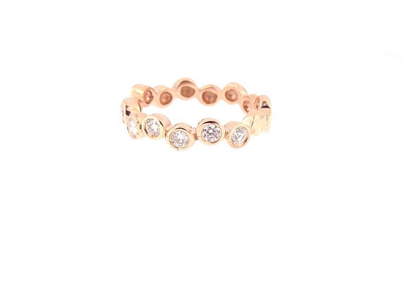 14K Rose Gold Bezel Set Wedding Band Anniversary Band Promise Ring Promise Band Stackable Band Yellow Gold White Gold Platinum 18K - SJ877