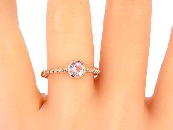 14K Rose Gold Morgnaite Bezel Set Engagement Ring Anniversary Ring Fashion Ring Promise Ring Twisted Design Braided Band Yellow White Gold