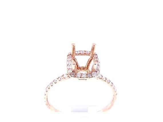 14K Rose Gold Diamond Cushion Cut Halo Engagement Ring