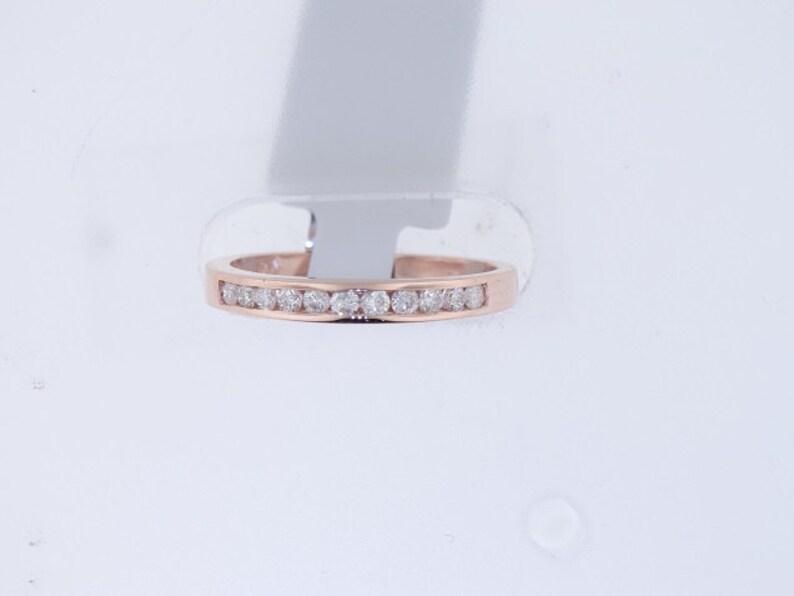 14K Rose Gold Diamond Channel Set Band Wedding Band Engagement image 0