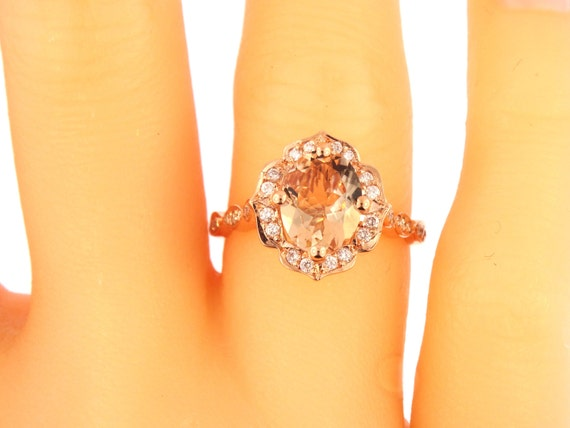 14K Rose Gold Diamond and Oval Shape Morganite Flower Halo Engagement Ring Wedding Ring Anniversary Ring Floral Design White Gold Yellow 18K