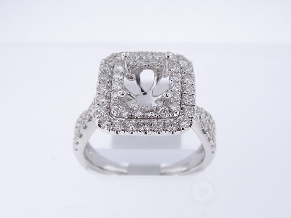 18K White Gold Diamond Double Halo Engagement Ring - SJ4700ER