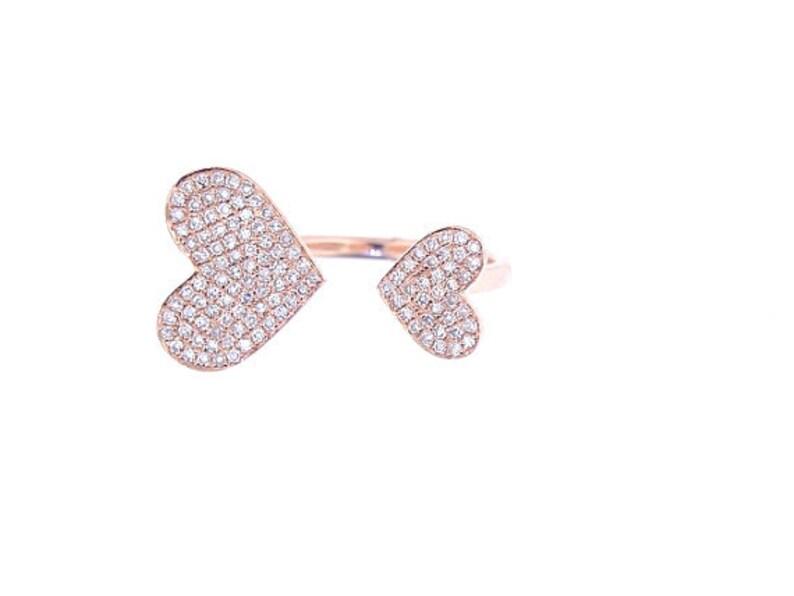 14K Rose Gold Heart Diamond Band Stackable Band Fashion Ring image 0