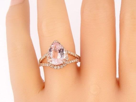 14K Rose Gold Halo Diamond Pear Shape Morganite Engagement Ring Wedding Ring Anniversary Ring Promise Ring Yellow Gold White Gold Art Deco