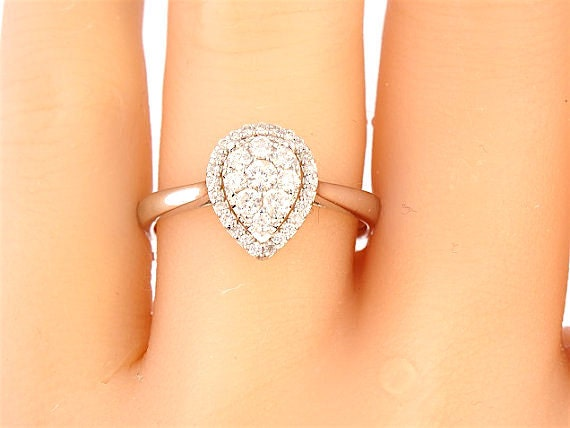 18K White Gold Pear Shape Diamond Solitaire Wedding Ring Engagement Ring Promise Ring Halo Ring Yellow Gold Rose Gold Antique Art Deco Ring