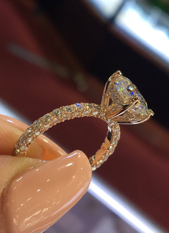 14 Karat Rose Gold Diamond Under Halo Wedding Ring With Round Brilliant Forever One Moissanite Engagement Ring Promise Ring Anniversary Ring