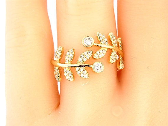 14K Yellow Gold Diamond Leaf Band Engagement Band Wedding Band Anniversary Band Stackable Band Fashion Band Right Hand Ring Rose Gold White