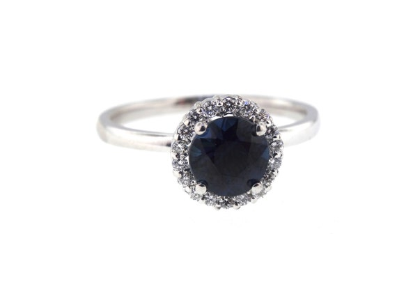 14K White Gold Diamond Round Blue Sapphire Engagement Ring Wedding Ring Art Deco Ring Promise Ring Classic Halo Yellow Gold Rose Gold 18K
