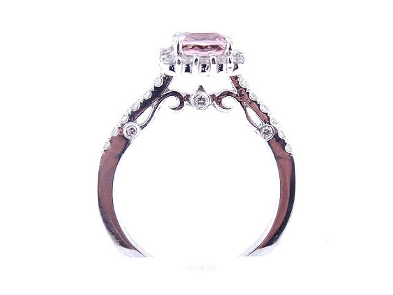 14K White Gold Natural Morganite and Diamond Halo Engagement image 0