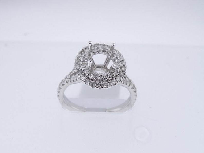 14K White Gold Double Halo Diamond Engagement Ring  Art Deco image 0