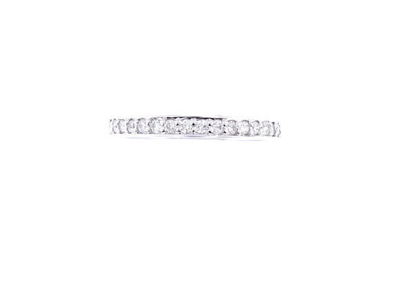 14K White Gold Half Eternity Diamond Band Stackable Ring image 1