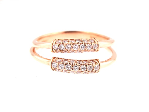 14K Rose Gold Diamond Doube Bar Band Right Hand Ring Fashion Ring Yellow Gold White Gold Split Band Anniversary Band Wedding Band Promise