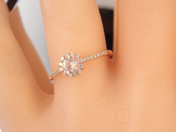 14K Rose Gold Diamond and Natural Morganite Halo Engagement Ring Wedding Ring Anniversary Ring Classic Halo Yellow Gold White Gold Antique