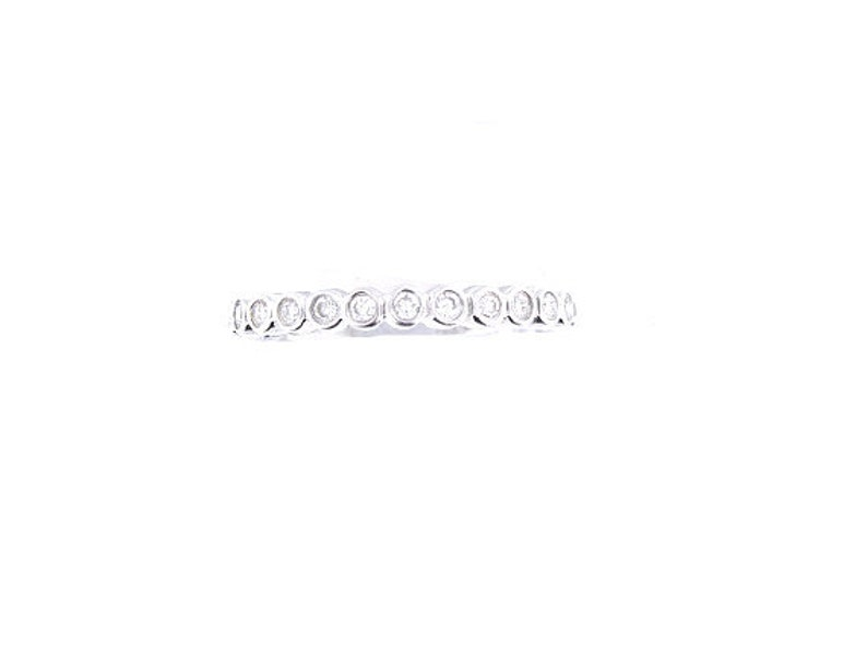 14K White Gold Bezel Set 3/4 Eternity Band Anniversary Band image 0