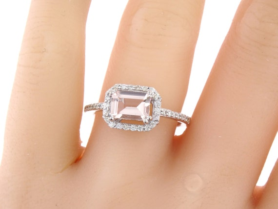 14K White Gold Diamond & Emerald Cut Morganite Sideways Engagement Ring Anniversary Wedding Ring Art Deco Design Ring Yellow Rose Gold 18K